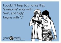 awesome ends with me and ugly begins with you | Pinterest Humor