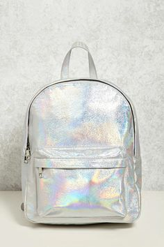 A structured faux leather backpack featuring an iridescent design, a top handle, two zipper compartments, two interior slip pockets, and adjustable buckle shoulder straps.