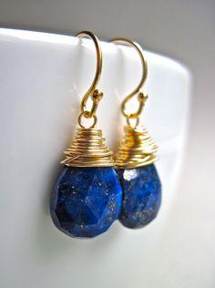 Lapis Lazuli Gemstone Earrings in 14K Gold Fill, Wire Wrapped Gemstone Earrings, Blue Stone Handmade Earrings