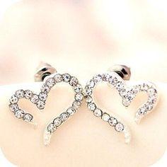 ee62 Korea Women Girl Lolita Punk Gothic Nana Heart Swarovski Earring Stud
