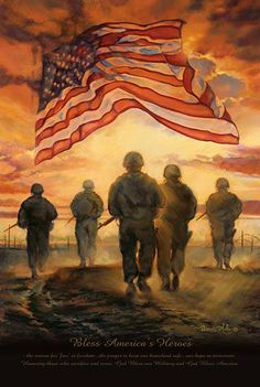 God Bless our American Heroes. (American Heroes decorative house and garden flag by Magnet Works from flagsrus features a group of soldiers walking into the sunset and an American flag flying in the sky). Military Mom, Army Mom, Military Quotes, Military Veterans, Military Flags, Military Families, Military Service, I Love America, God Bless America