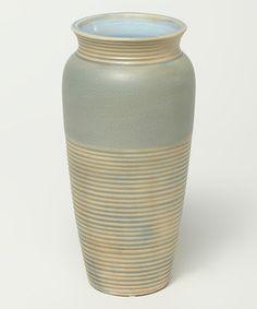 Look at this #zulilyfind! Blue Ribbed Crackle Vase #zulilyfinds