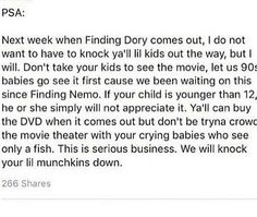 when finding dory kome out there will be no games played!! mariahjankins