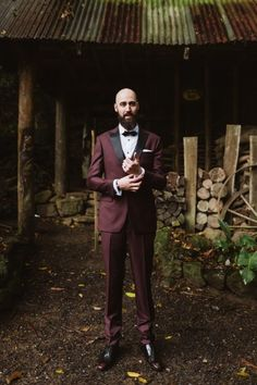 stylish grooom in burgundy suit from Institchu