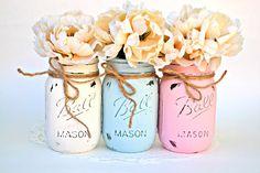 Painted Mason Jars Mason Jar Decor Nursery by PaintedPaintbrush