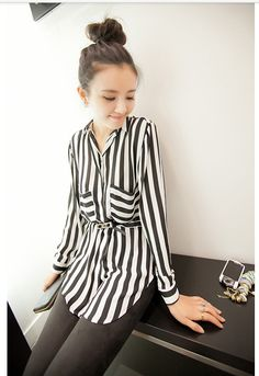 Chiffon Vertical Black Stripes Shirt.