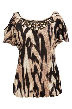 Stone Animal Print Embellished Top