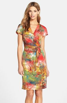 Ellen Tracy Print Jersey Faux Wrap Dress available at #Nordstrom