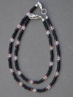 Anklets - Pink and Black Bracelet and Anklet Set by JewelryArtByGail on Etsy