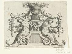 Nicolas Pierre Loir | Twee sirenes naast mand met bloemen, Nicolas Pierre Loir, after c. 1679 - before 1716 | De sirenes hebben staarten in de vorm van bladranken. Blad 6 uit serie van 12, tweede editie.