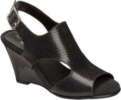 f9bf4a2fd5 Aerosoles Women's Honey Blossom Wedge Sandal Black Snake Embossed Leather  Size M