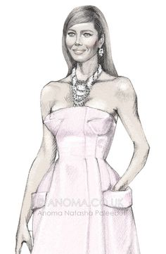 Fashion Illustration - Jessica Biel in pink Christian Dior Couture. Anoma's Blog - Anoma Natasha Paleebut