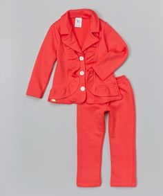 Loving this Salmon Ruffle Blazer & Pants - Infant & Toddler on #zulily! #zulilyfinds