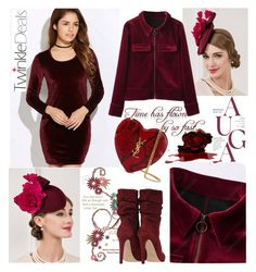 """Bordeaux, burgundy (TD-64)"" by irinavsl ❤ liked on Polyvore featuring Yves Saint Laurent and vintage"