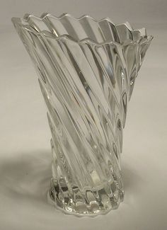 Mikasa Clear Crystal Vase in the Vision Pattern QQ028/612 Small Desk Size #Mikasa