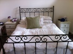 Antique Wrought Iron Bed Frames For Your Bedroom Platform Ideas: Vintage Wrought Iron Bed Frames And White Bed Sheet For Vintage…