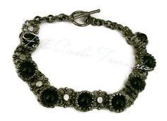 """Handmade black onyx bracelet, gift for her, gift for teen, elegant, lovely, gunmetal, original design, ornate, 7 1/2"""" Black onyx bracelet"""