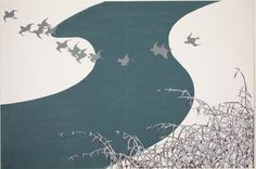 Plovers Flying Across a River above Snow-Laden Reeds (Fuyu no Kawa),... | The Art Institute of Chicago