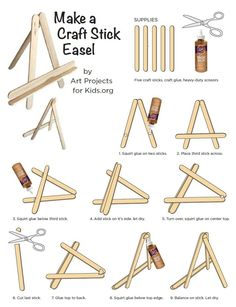 Make your own craft stick easel, no need to buy the expensive pre-made ones. I… Make your own craft stick easel, no need to buy the expensive pre-made ones. I've been making these for so long for my mini canvas classes. Craft Stick Projects, Craft Stick Crafts, Projects For Kids, Fun Crafts, Crafts For Kids, Art Projects, Craft Sticks, Kids Diy, Decor Crafts
