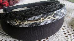 Black Plaid 3 Headbands Thick Chunky and Skinny Headband NOS 32 headbands with Teeth ReVintageBoutique.Etsy.com