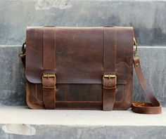 Mens Leather Satchel / Ipad Mini Messenger / Leather by JooJoobs, $169.00