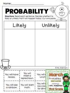 Probability Statements (likely or unlikely) First Grade March Printables