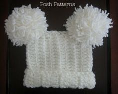 Crochet Hat PATTERN - Baby Square Pom Pom Hat Crochet Pattern - Instant Download PDF 103 - Newborn to Adult - Photo Prop Pattern