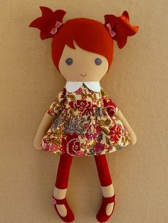 Best 12 Reserved for MrsJGray – Fabric Doll Rag Doll Red Haired Girl in Maroon and Pink Floral Print Dress Doll Toys, Pet Toys, Baby Dolls, Doll Crafts, Diy Doll, Fabric Toys, Fabric Crafts, Sewing Dolls, Soft Dolls