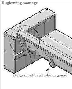 Wood Bench: Construction of the angled back.   Steigerhout tuinstoel en #tuinbank bouwtekening - rugleuning montage.