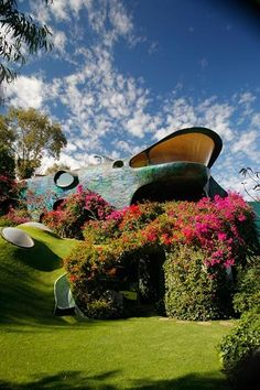 """A house in Mexico City called organic """"Tiburon House"""", by architect Javier Senosiain."""