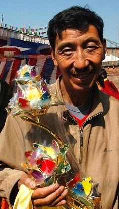 Lotus lamp offering, Tharlam Monastery, Kathmandu, Nepal