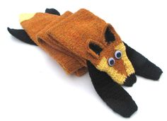 Red fox — handmade soft scarf, animal scarf, fox, brown scarf, brown black, crochet scarf, knitted scarf, OOAK - pinned by pin4etsy.com
