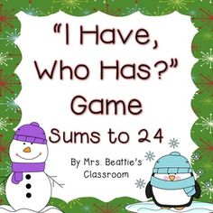"Help your students practice their basic addition facts with this fun ""I Have, Who Has?"" game. Play as a whole class, or have students in small groups using multiple sets. The set contains 24 cards. Simply print on heavy paper or card stock, laminate for durability, and cut out."