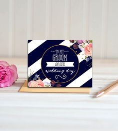 To My Groom On Our Wedding Day Card  Navy Blue Flowers Gold Glitter     Instant Download Printable