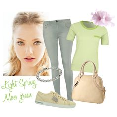 """""""Light Spring outfit - light moss green"""" by keekii on Polyvore"""