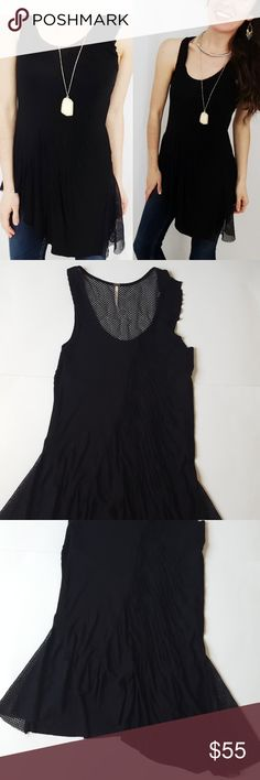 Free People assymetrical black tank top -B9 Free People assymetrical black tank top, size small. Stretch material. Some sheer netting material on sides and top of back.  Used item: pictures show any signs of wear. Inspected for quality. Bundle up! Offers always welcome:)  Shop my husband's closet!: @kirchingeraaron Free People Tops Tank Tops