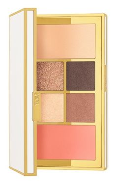 This reflective ivory-and-gold colored palette opens to reveal a collection of hues for eyes and cheeks.