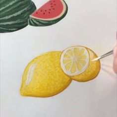When life hands you lemons, make lemonart! By: boelterdesignco Lemon Painting, Lemon Watercolor, Fruit Painting, Gouache Painting, Watercolor Paintings, Paintings Of Fruit, Watermelon Painting, Lemon Drawing, Lemon Pictures
