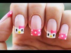 Decoración de uñas Hello Kitty - Hello Kitty nail art - YouTube