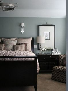 Blue-gray Painted Master Bedroom. (Beach Glass by Benjamin Moore).
