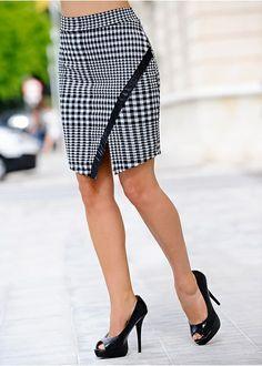 Faux leather trim skirt Wrap skirt with • £16.99 • bonprix