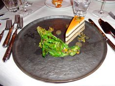 Guinea fowl gâteau with Burgundy truffles, sautéed romaine lettuce and white port @ Restaurant Locanda @ Hotel Carlton