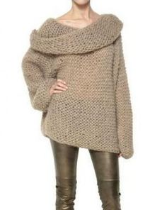 Camel Off the Shoulder Long Sleeve Chunky Sweater pictures