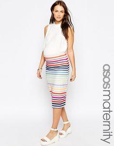 Image 1 ofASOS Maternity Scuba Pencil Skirt In Multi Stripe