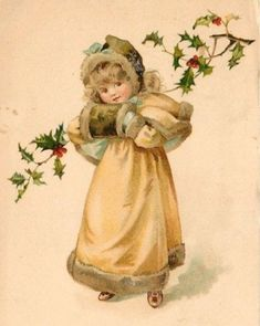 Beautiful Little Girl Fur Muff Tuck Christmas Gem Ellen Jessie Andrews 1904 Gem Vintage Christmas Images, Old Christmas, Old Fashioned Christmas, Victorian Christmas, Retro Christmas, Christmas Pictures, Xmas, Vintage Images, Vintage Greeting Cards