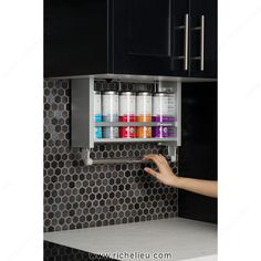 Handy pull down shelving is easily grasped and brought down and out ...