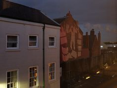 View from our offices as light installations are projected on the Danish Building on High Street in #Hull for the first week of #MadeInHull