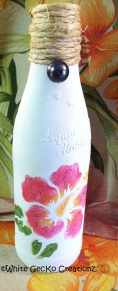 Painted Bottle Hibiscus Stencil Twine by WhiteGecKoCreationz, $8.00