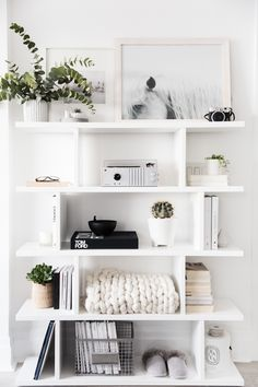 Add the modern decor touch to your home interior design project! This Scandinavi… Add the modern decor touch to your home interior design project! This Scandinavian home decor might just be what your home decor ideas is needing right now! Pin: 650 x 975 White Shelves, White Shelving Unit, Shelving Units, Home Decor Inspiration, Design Inspiration, Decor Ideas, Decorating Ideas, Design Ideas, Interior Decorating