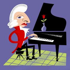 Mozart caricature | Piano | Illustration + design by Robert Grieves / BERT Animation